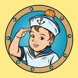 Child sailor ship kids game retro vector Royalty Free Stock Photos