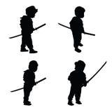Child with samurai sword illustration Stock Photos
