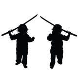 Child with samurai sword set illustration Royalty Free Stock Photo