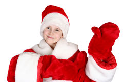 Child Santa Claus. The child dressed in suit Santa Claus on a white background Stock Image
