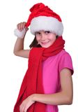 Child with Santa Claus red hat Royalty Free Stock Photo