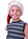 Child with Santa Claus red hat royalty free stock photos