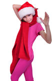 Child with Santa Claus red hat isolated Stock Images