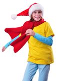 Child with Santa Claus red hat isolated Royalty Free Stock Images