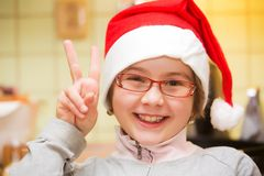 Child with Santa hat Royalty Free Stock Photo