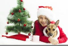 Child in Santa hat Stock Photo