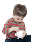 Child saving money Royalty Free Stock Photography
