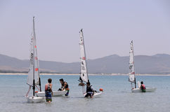 Child school sailing in sardinia. The school sailing in the south of Sardinia. In the Gulf of Porto Pino in the south of Sardinia young boys studying the wind Royalty Free Stock Photography