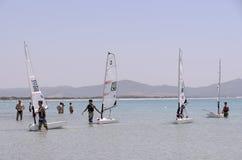 Child school sailing in sardinia Stock Image