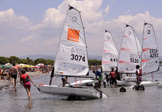 Child school sailing in sardinia Royalty Free Stock Photography