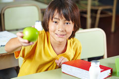 Child in school showing healty Royalty Free Stock Photo