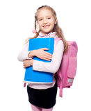 Child with schoolbag. Girl with school bag isolated on white Stock Photo