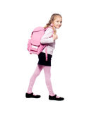 Child with schoolbag. Girl with school bag isolated on white Stock Image