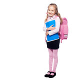 Child with schoolbag. Girl with school bag isolated on white Stock Photos