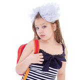 Child with schoolbag. Girl with school bag. Kids,girl,child and shool -Child with schoolbag. Girl with school bag isolated on white Royalty Free Stock Images