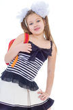 Child with schoolbag. Girl with school bag. Kids,girl,child and shool -Child with schoolbag. Girl with school bag isolated on white Royalty Free Stock Photography