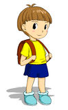 Child with schoolbag. Pleasant child boy carrying a school bag Royalty Free Stock Photo
