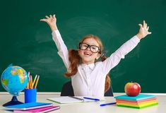 Child   schoolgirl  girl student about school blackboard. The child   schoolgirl  girl student about school blackboard royalty free stock image