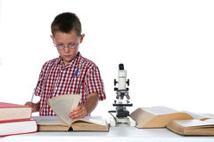 Child scientist with a pen in his pocket Royalty Free Stock Images