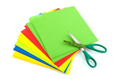 Child scissors with colorful paper Stock Photo