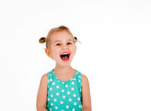 Child screaming with joy expression Royalty Free Stock Image