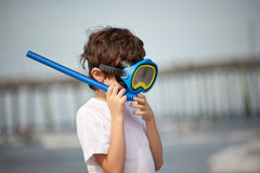 Child Scuba Diver. A 7 year old boy wearing scuba gear at Virginia Beach Stock Image