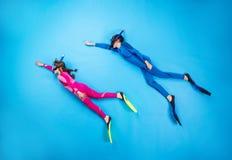 Child scuba divers stock image