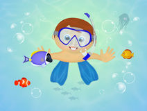 Child with scuba mask. Illustration of child with scuba mask Royalty Free Stock Photos