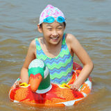 Child in the sea. The chinese child in the sea Royalty Free Stock Images