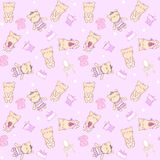 Child seamless pattern with cats. Stock Photo