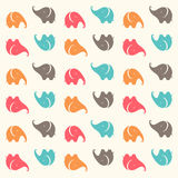 Child seamless pattern with cute cartoon elephants. Animals Funny. Vector illustration. Royalty Free Stock Photography