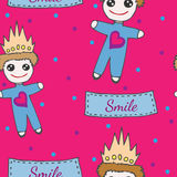 Child seamless pattern with little prince toy on crone Royalty Free Stock Photography