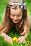 Child search easter egg outdoor. royalty free stock photo