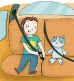 Child and seat belt. A child fastens the seat belt. Digital illustration Stock Image