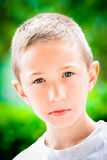 Child serious facial expression stock image
