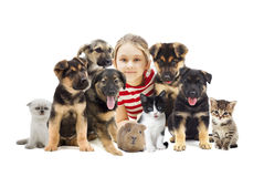 Child and set pets. On a white background Royalty Free Stock Images