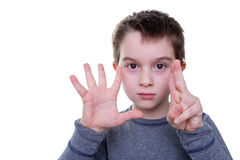 Child with seven fingers up Stock Images