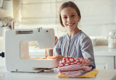 Child sewing Stock Photos