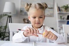Free Child Sharpening Pencil Stock Image - 102630681