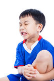 Child shin with a bruise and painful Stock Photo