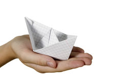 Child is ship made from paper Stock Photography
