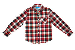 Child Shirt. Checked colored shirt for boy isolated with clipping path Stock Images