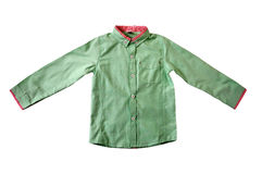 CHILD SHIRT EXHIBITION. Men`s long sleeve shirt for children on white background giving variations of classical style and united in the sense of the self-esteem Stock Photo