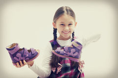 Child and shoe sandals Royalty Free Stock Images