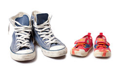 Child shoe and sneakers Stock Photo