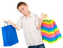 Child with shopping bags Royalty Free Stock Images