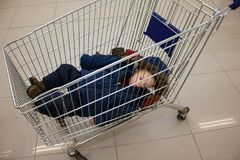 Child in shopping cart Royalty Free Stock Images