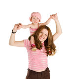 Child on shoulders Royalty Free Stock Photos