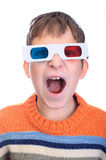 Child shouting 3d glasses. Young child shouting 3d glasses Royalty Free Stock Photo