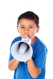 Child shouting through a megaphone Stock Photography